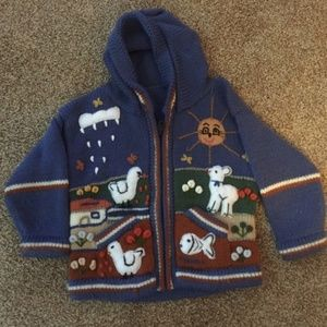 baby boy zip up hooded wool sweater 18-24 M